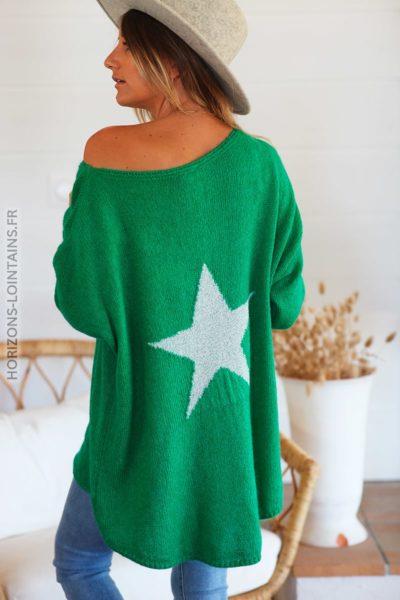 Pull loose vert étoile argentée dos D148 (1)