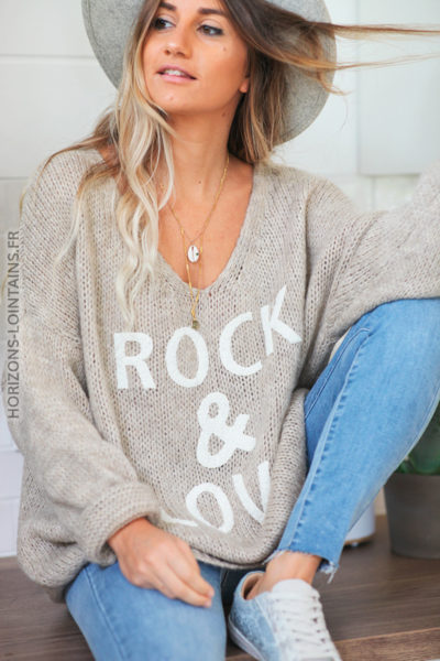 Pull mailles beige col V rock and love D169 (1)