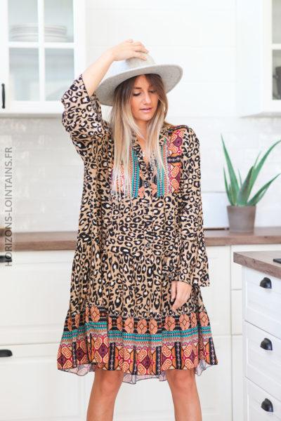Robe camel clair imprimé léopard avec motifs ethniques D108 (13)