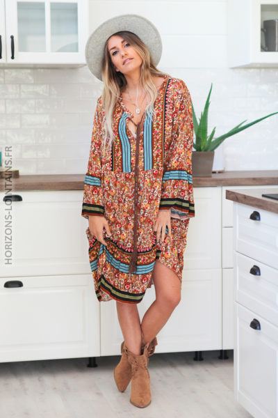 Robe camel manches longues fleurie rose D107 (1)