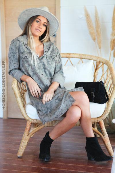 Robe chemise taupe imprimé camo D122 (2)