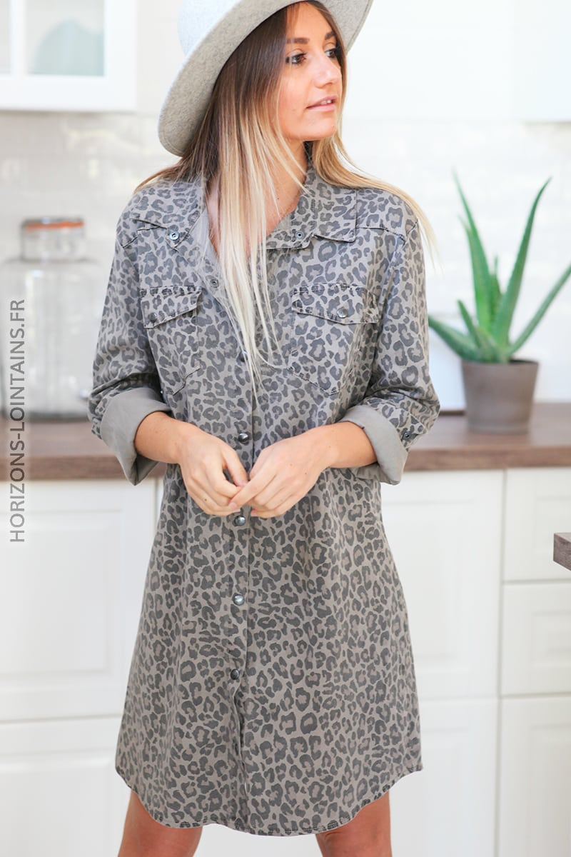 Robe chemise taupe imprimé léopard D122 (1)