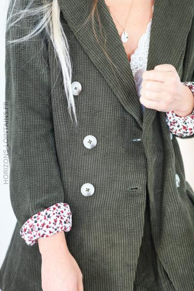 Veste kaki chaude velours cotelé poches et double boutons D009 (7)