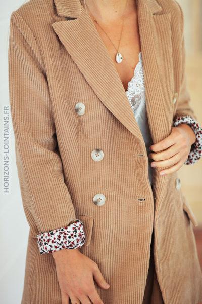 Veste beige chaude velours cotelé poches et double boutons D009 (2)