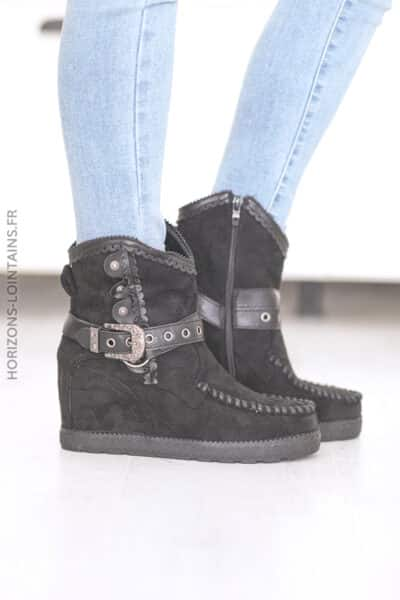 Boots noires compensées ceinture et clou D28 (1)