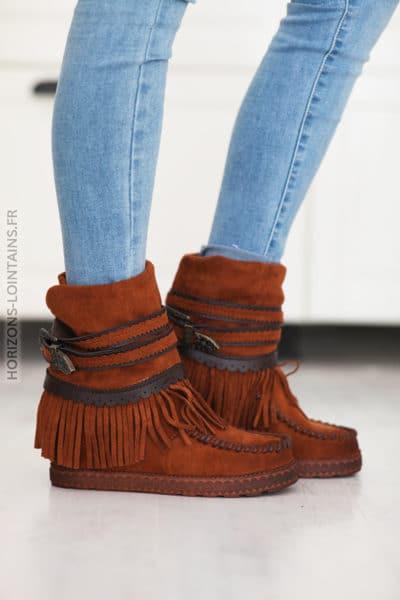 Boots camel compensées suedine franges et ceinture D27 (9)