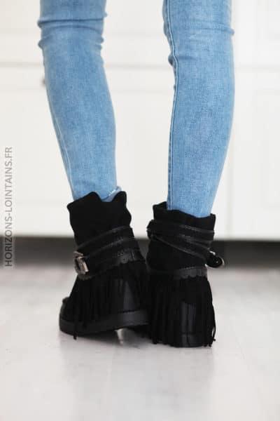 Boots taupe compensées suedine franges et ceinture D27 (5)