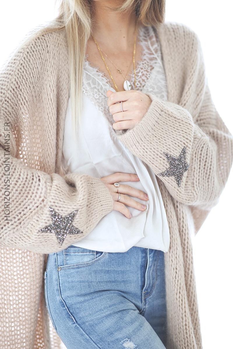 Gilet beige mi-long grosses mailles étoile strass manches déè (1)