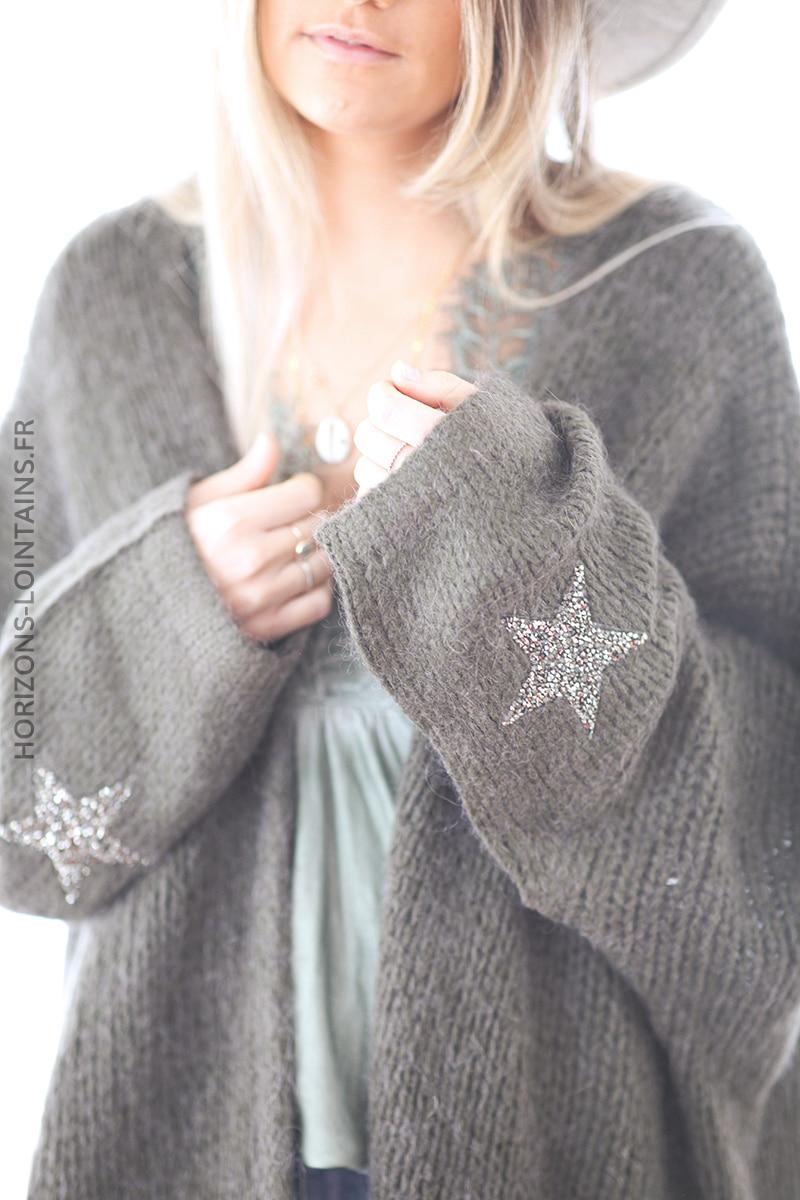 Gilet kaki mi-long grosses mailles étoile strass manches D27 (11)