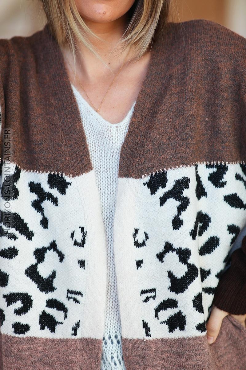 Gilet marron glacé long rayure léopard D030 (1)