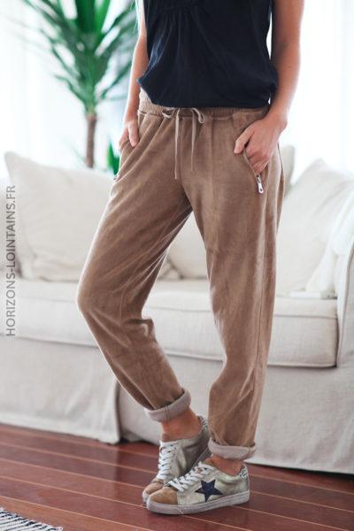 Jogging camel en velours doux ceinture élastique poches zip D72 (1)
