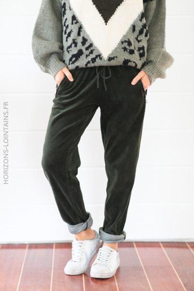 Jogging KAKI en velours doux ceinture élastique poches zip