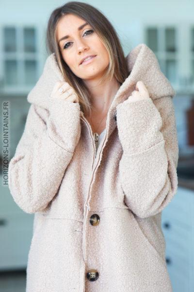 Manteau beige à capuche effet laine bouillie D012 (1)