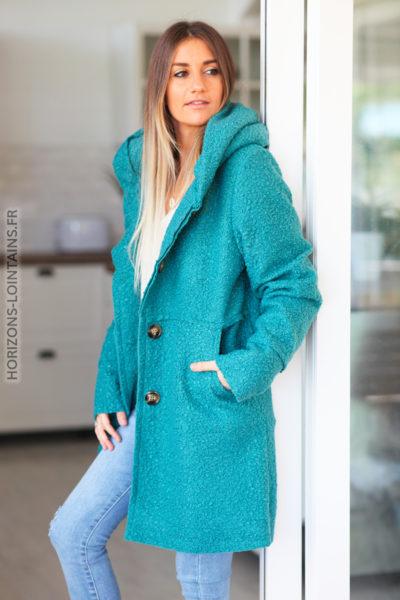 Manteau bleu canard clair à capuche effet laine bouillie D012 (1)