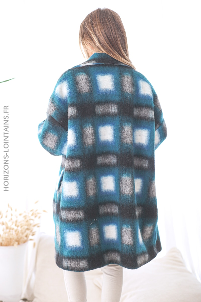 Manteau bleu canard laine à carreaux D15 (1)