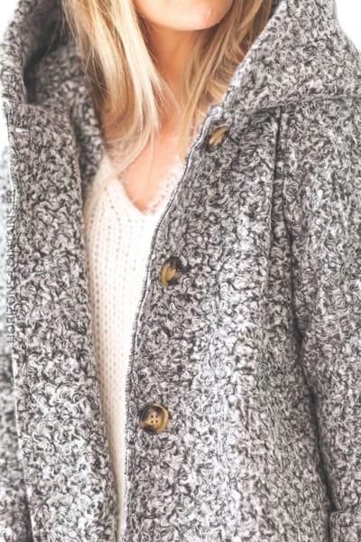 Manteau bouclettes gris chiné à capuche effet laine bouillie D18 (1)