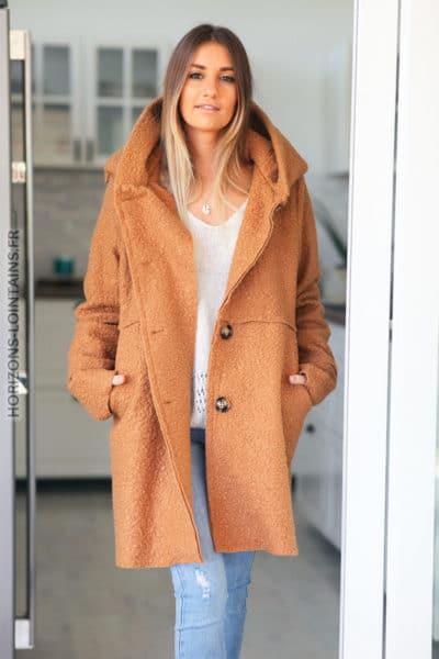 Manteau-camel-capuche-effet-laine-bouillie-vêtement chaud femme-D012-4