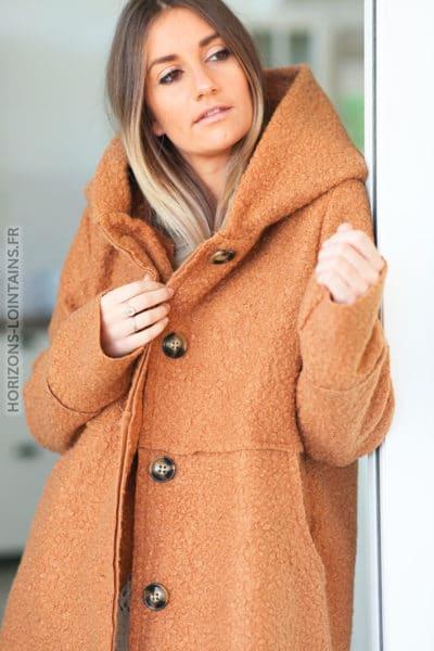 Manteau-camel-capuche-effet-laine-bouillie-vêtement chaud femme