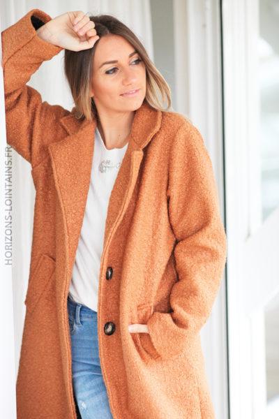 Manteau camel effet laine bouillie D10 (1)