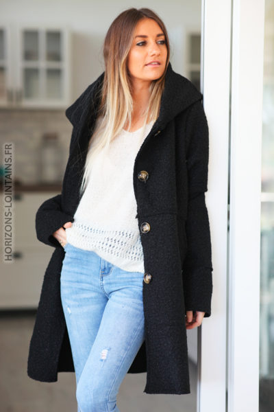 Manteau noir à capuche effet laine bouillie D012 (1)