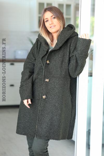 Manteau kaki à capuche effet laine bouillie D012 (1)