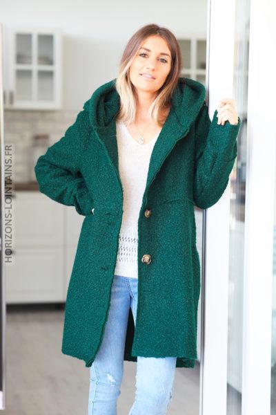 Manteau vert bouteille à capuche effet laine bouillie D012 (1)