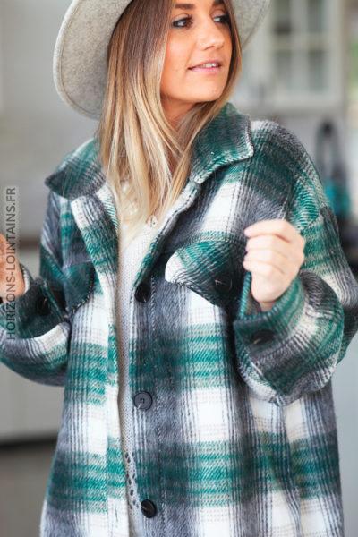 Manteau vert façon surchemise motif écossais à carreaux D016 (1)