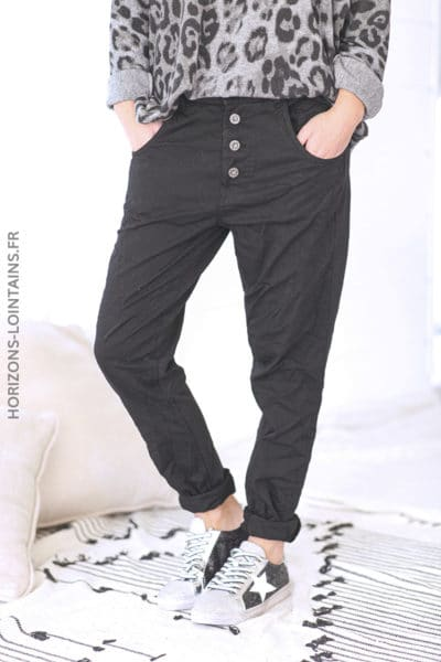 Pantalon bi matiere toile jersey confort souple stretch taille haute noir (1)