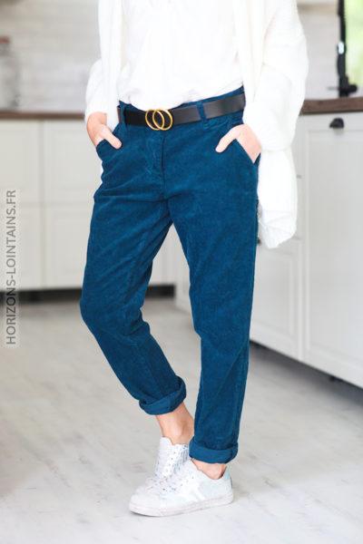 Pantalon bleu pétrole velours coté et ceinture simili D65 (1)
