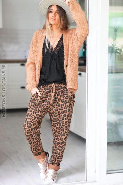 Pantalon camel leopard avec ceinture élastique D49 (1)