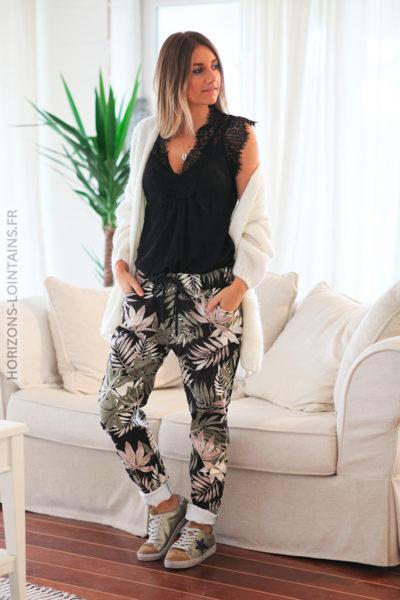 Pantalon confort noir feuillage kaki D70 (2)
