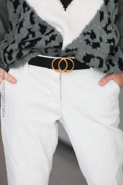 Pantalon grège velours cotelé et ceinture simili D65 (1)