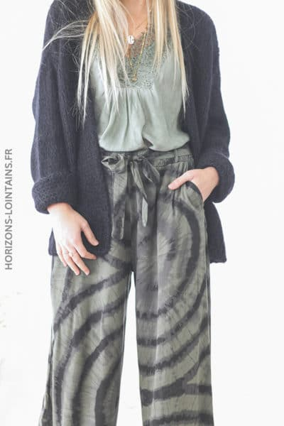 Pantalon kaki fluide large tie and dye D84 (1)