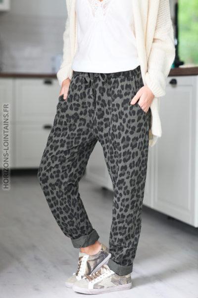 Pantalon kaki leopard avec ceinture élastique D49 (1)