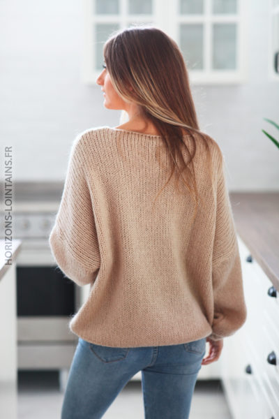 Pull beige grosses mailles D186 (1)