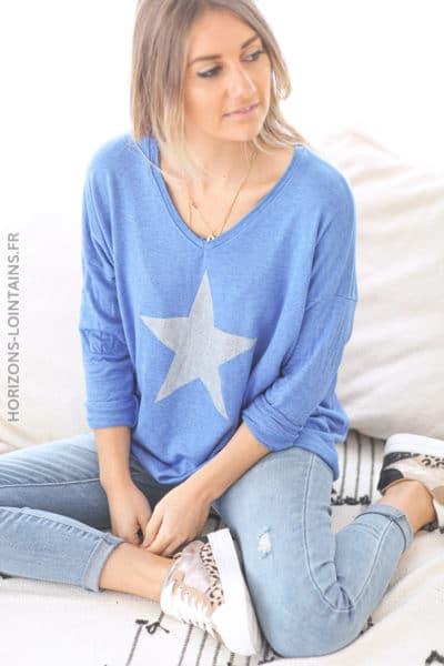 Pull bleu roi jersey doux étoile argenté D212 (1)