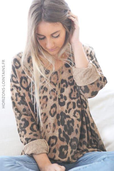 Pull camel jersey doux imprimé léopard D222 (1)