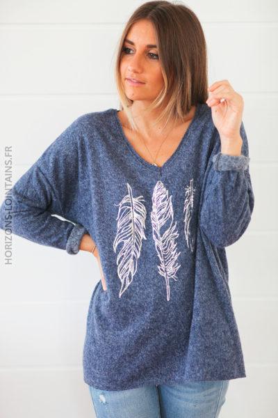 Pull chaud bleu jean chiné doux plumes argentées D213 (1)