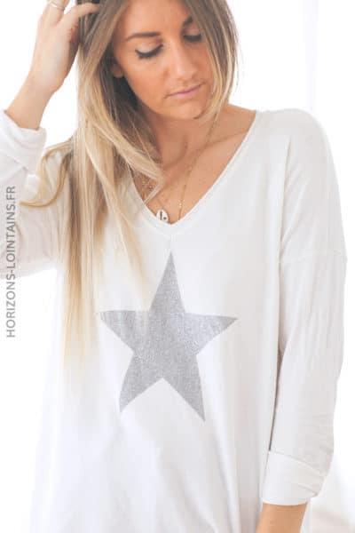 Pull écru jersey doux étoile argenté D212 (1)
