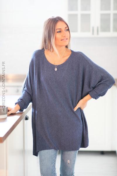 Pull large bleu jean manches chauve souris D172 (1)