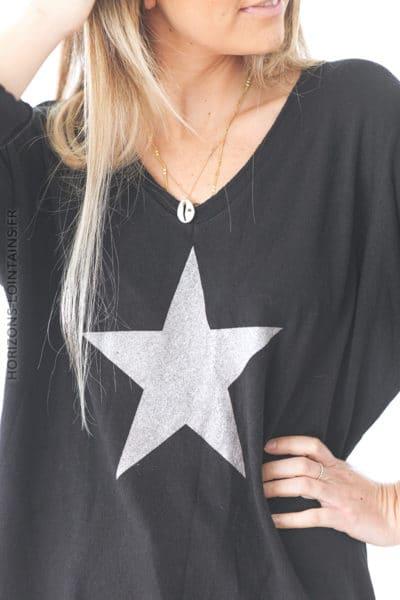 Pull noir jersey doux étoile argenté D212 (1)