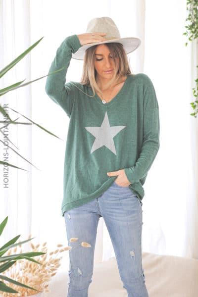 Pull vert jersey doux étoile argenté D212 (1)