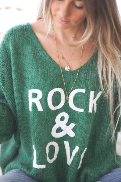 Pull vert oversize grosses mailles rock and roll D224 (1)