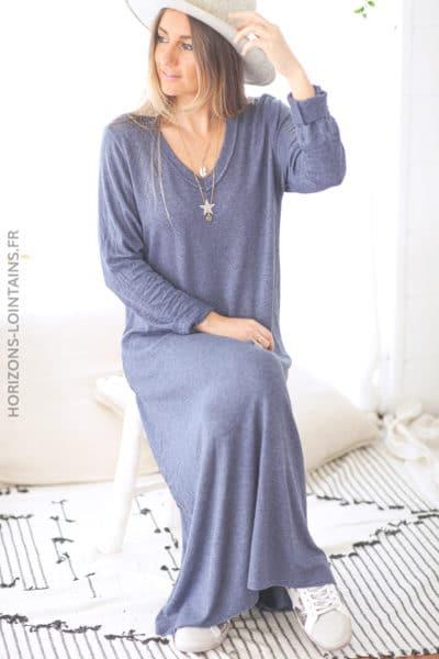 Robe pull longue bleu jean étoile et col brillants D119 (1)