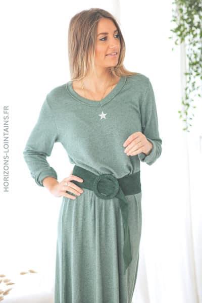 Robe pull longue vert bouteille étoile et col brillants D119 (1)
