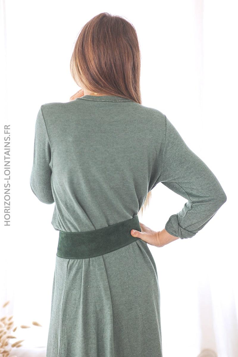 Robe Pull Longue Vert Bouteille Etoile Et Col Brillants Horizons Lointains