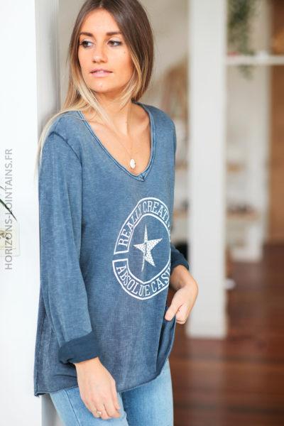Tshirt bleu jean manches longues logo message et étoile strass D223 (1)