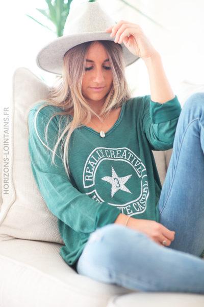 Tshirt vert bouteille manches longues logo message et étoile strass D223 (1)