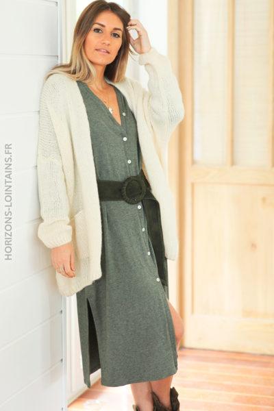 robe longue kaki boutonnée étoile sequins dos D120 (1)
