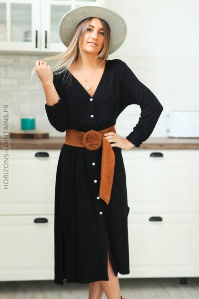 robe longue noire boutonnée étoile sequins dos D120 (1)